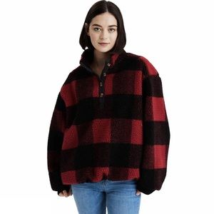 American Eagle Red BUFFALO Plaid SHERPA Pullover